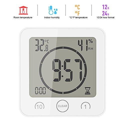 ONEVER Badezimmer-Uhr Digitale Luftfeuchtigkeit Temperatur Digitaluhr Timer Uhr LCD Display Touch Control Timer Alarm für Küche Badezimmer (Weiß) -