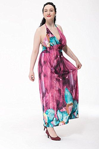 NiSeng Donna Halter Casual Bohemien Vestito Grande Lungo Vita Alta Abito Maxi Con Stampa Floreale Come immagine