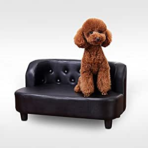 PawHut Indoor Pet Sofa Chair Cat Dog Kitten Furniture Soft PU Leather Retro Couch Bed Seater Buttoned Design Black