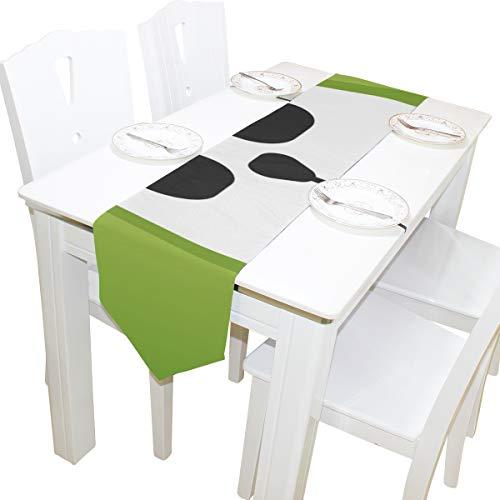 Yushg Chinesische Panda Cartoon Mode Kommode Schal Tuch Abdeckung Tischläufer Tischdecke Tischset Küche Esszimmer Wohnzimmer Haus Hochzeit Bankett Decor Indoor 13x90 Zoll