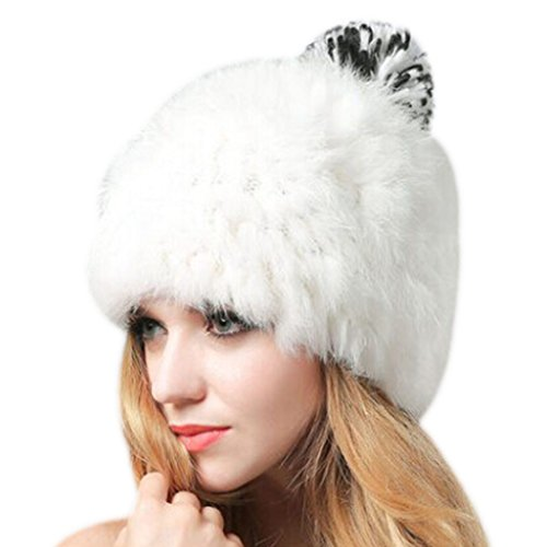 ellmütze Pelzmütze Kaninchen Wintermütze Faux Fuchs Pelz Warm Weich Damenmütze Strickmütze (Russische Faux Pelz Hut)