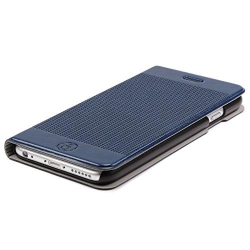 Urcover® iPhone 6 / 6s Plus [ KAMERA-SCHUTZ ] Handy Schutz-Hülle | Kartenfach & Standfunktion | DOT Case Gelb | Wallet Cover Tasche | Smartphone Zubehör Etui speziell für Apple iPhone 6 Plus / 6-s Plu Dunkel Blau