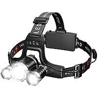 Linterna Frontal LED Lampára de Cabeza Ajustable 5000lm 4 Modos Cargadores portátiles Luz Ultra Brillante Alta Potencia USB Recargable Impermeable para Pesca, camping, senderismo