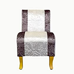 Mini Sillón madera serie vintage estilo clásico tapizado miniaturas tamaño reducido blanco tiras marrón (Cod. 20150921)