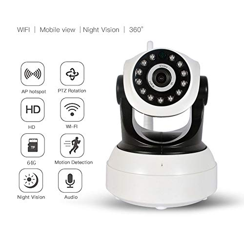 Biezutu IP-Kamera 720P HD WiFi IP Cam Surveillance Security System Video Recording Sonic Recognition P2P Pan Tilt Remote Motion Alert with Two-Way Audio Support 64GB Micro SD Video-recording-system