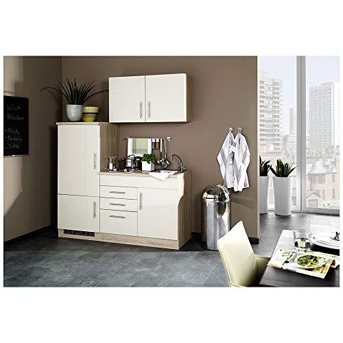 Lomadox Küche 160 Küchenzeile Küchenblock Einbauküche Singleküche Creme Hochglanz