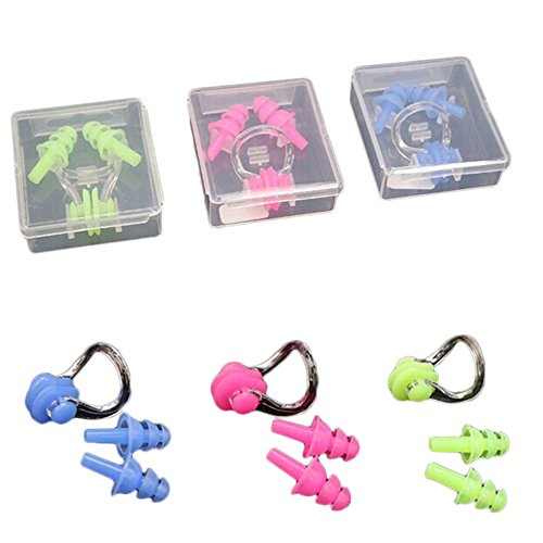 YouY® 1 Set Wasserdichte Soft Silikon Schwimmen Nasen Klipp & Ohr Stecker Nasenklammer & Ohrenstöpsel Set Blau Rosa Grün