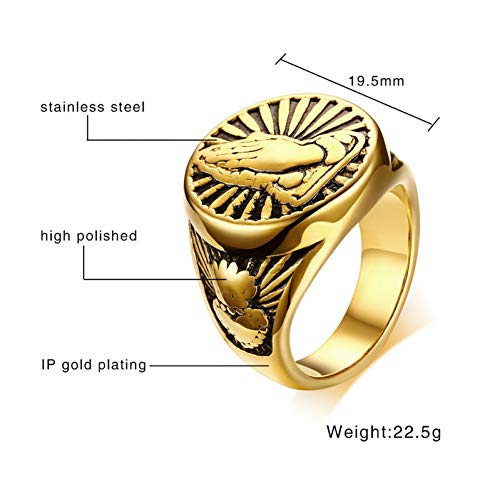 ERDING Unisex/Verlobungsring/Freundschaftsring/Vintage Gold-Farbe Männer Ring Edelstahl Devout Namaste Geste Design männliche Gebet Schmuck