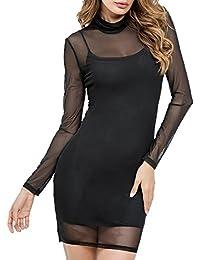 Simple-Fashion Estivo Vestito a Tubino Donna Matita Mini Abiti Due Pezzi  Impostato Sottile Collo 1d5d4058a18