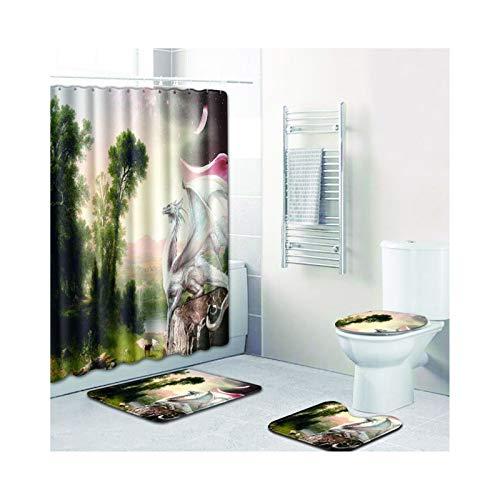 SonMo 4-Teiliges Badzimmer Teppich Duschmatte Wc-Deckel WC Teppich Set Polyester Anti-Bakteriell...