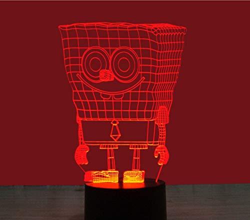 Spongebob Schwammkopf Bunte 3D Nachtlicht Usb Schnittstelle Led Vision Lichter Wohnkultur Spielzeug Geschenk Touch