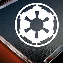 TrueDecalStore Star Wars weiß Galactic Empire Weiß Silhouette Auto Fenster Vinyl Aufkleber Aufkleber