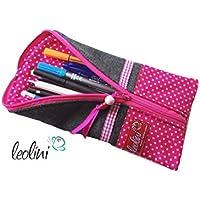 Stiftetasche Namensstickerei Federmäppchen Schminktasche Kosmetiktasche pink handmade