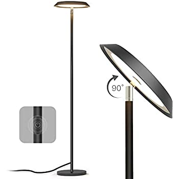 LED Standing Light for Living Room Bedroom The Intensity and Colour of The Light can be Controlled with The Included Remote Control. RGB Floor lamp Pipe in Metal Office matt Nickel