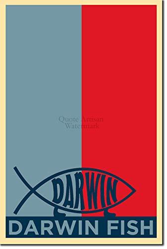 TPCK Darwin Fish Kunstdruck (Obama Hope Parodie) Hochglanz Foto Poster - Charles Atheist Atheism Biology Biologist - Maße: 30 x 20 cm