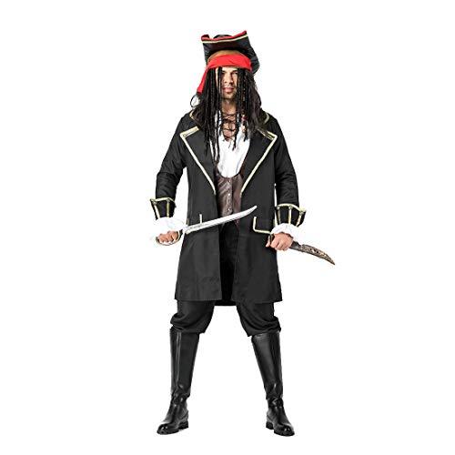 HOOLAZA Herren Schwarze Piraten der Karibik Kostüm Rogue Pirate 6-teiliges ()