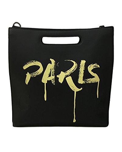 Borsa in ecopelle con stampa sul davanti gocciolante e tracolla Gaelle Paris Nero