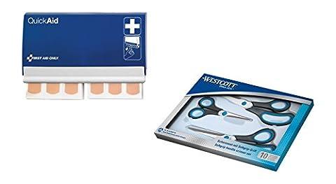 Westcott 90027-44002 Kombipack Easy Grip Scheren Set und Quick Aid Pflasterspendersystem Elastic