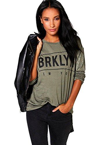 Femmes Kaki Bernie Top Manches Longues Imprimé Brooklyn Kaki