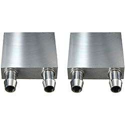 Kalolary Bloc de Refroidissement à l'eau 40 * 40mm en Aluminium pour Refroidisseur d'eau Liquide Système de dissipateur de Chaleur en Argent pour dissipateur Thermique de radiateur CPU (Paquet de 2)