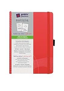 Avery Zweckform 7047 Hardcover Notizbuch notizio, gebunden, kariert, DIN A6, 90 g/m², 80 Blatt, rot