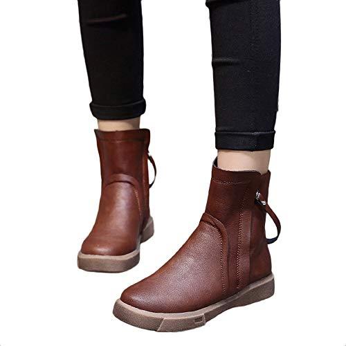 Frauen Lederstiefel Flache Winter Warme Gefüttert Stiefeletten Schneestiefel Damen Shoes Stiefel Flache Boots Klassischer Stiefeletten Freizeitschuhe Winter Leder Schneestiefel(Braun,40)