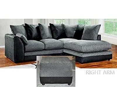 Dylan Byron Corner Sofa Black & Charcoal Right or Left with Matching Footstool (Black Right and Matching Footstool) from Abakus Direct