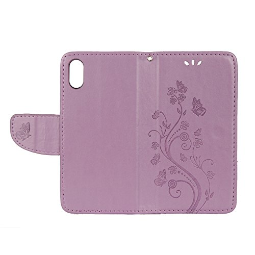 iPhone X Hülle Helles Lila 3D Schmetterlingsblumen PU Leder Wallet Handytasche Flip Etui Schutz Tasche mit Integrierten Card Kartensteckplätzen und Ständer Funktion Für Apple iPhone X / iPhone 10 (201 Helles Lila