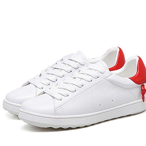 L@YC Frauen flache Schuhe Lace Schuhe Casual Kleine Moving White Frauen Schuhe-Schwarz Red