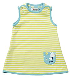 Piccalilly Organic Cotton Blue Baby Girls and Older Girls Stripey Reversible Dress