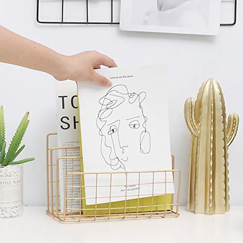 Saiko File Holder Desktop Bookshelf Magazine Bücherständer Rack Magazine Zeitungen Newsletter Lagerregal Home Office Coffee Shop Decor (Gold)