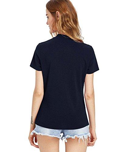 ROMWE Damen Rose Blumen Stickerein T-Shirt Tüll-Einsatz Party Cocktail Top Oberteil Marineblau