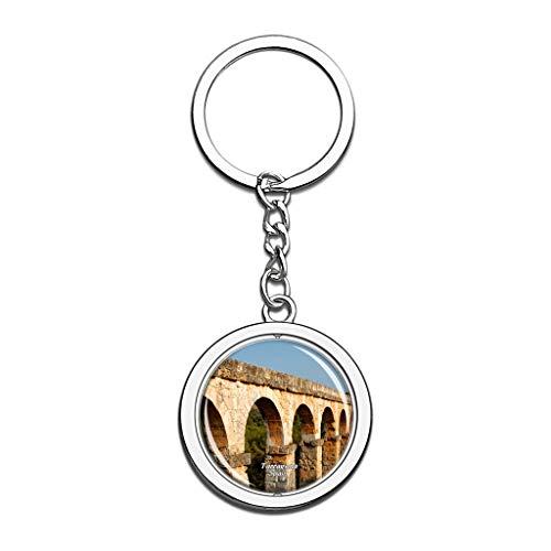 Hqiyaols Keychain Spanien Römisches Aquädukt Tarragona Kristall Drehen Rostfreier Stahl Schlüsselbund Reisen Stadt Andenken Schlüsselring -