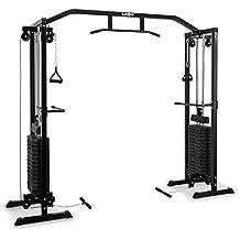 Klarfit Cablefit máquina de poleas cruzadas (2 torres con 170 lbs/77 kg, cable de tracción superior e inferior, peso ajustable, agarres recubiertos de goma, acero) - negro