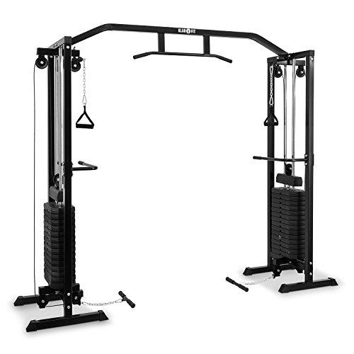 Klarfit Cablefit • zweiseitiger Kabelzug • Kabelzugbrücke • Kabelzugstation • Zwei Türme mit je 170 lb [77 kg] Maximalgewicht • schwarz - Mit Gewichten Fitnessgerät