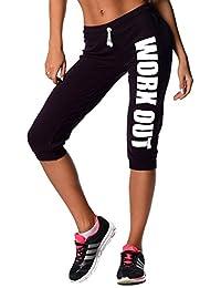 EloModa® 3/4 Hose Capri WORK OUT Sport-Hose Baumwolle & Lycra, Gr. S M L XL XXL 3XL, p970