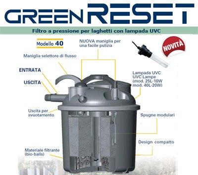 Sicce Greenreset 40 Filtre à Pression pour étang Noir 8000 l