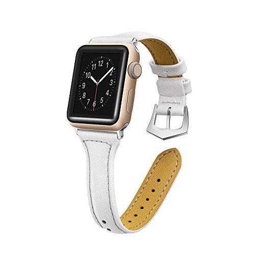 Gimartuk Echtleder Bands für Apple Watch Band 38mm 42mm Slim Ersatz Armband Gurt für iWatch Nike + Serie 3/2/1, Sport & Edition, 11Farben, Weiß, 42mm - Apple-weiß-kleidung