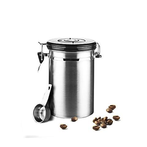 Acier inoxydable hermétique Boîte à café Vault Café Boîte de rangement de qualité premium en acier inoxydable Réservoir à grains avec Intégré CO2Soupape d'aération et date suivi de roue pour grains de café (Argent, Noir, Rouge, 1.8L/1797,4gram) Silver