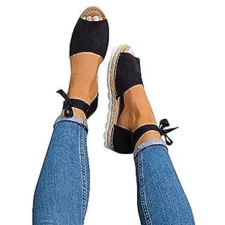 Sandalen Damen Sommer Sandaletten Plateau Offene Bohemia Espadrille Knöchelriemchen Flach Sommersandalen Riemchen Elegant Schuhe Schwarz Beige 35-44 BK40