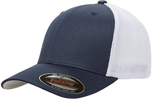 Kurze Crown Caps (Flexfit Herren Two-Tone Stretch Mesh Fitted Cap Mütze, Marineblau/weiß, Einheitsgröße)