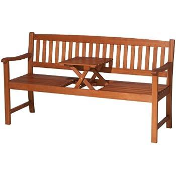 Gartenbank holz mit tisch  Amazon.de: KMH®, 3-sitzer Gartenbank (160 cm) aus Eukalyptusholz ...