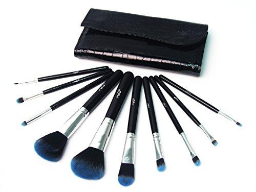 Signstek Set de 10 Pinceaux Professionnel pour Maquillage, Pinceau Synthétique et Poignée en Bois avec Porte-pinceau