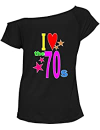 Northwest Exclusive Womens Top I Love The 80s 60s 70s 90s T-Shirt Off Shoulder Retro Party Tees