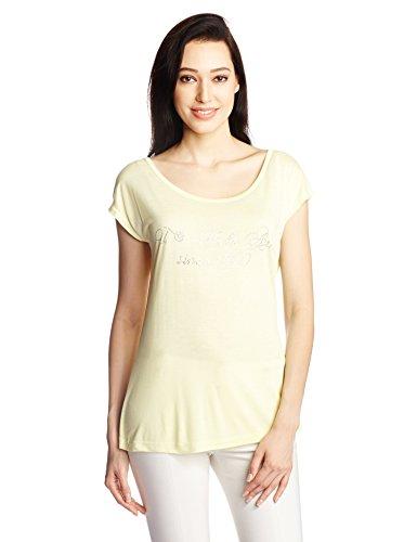 U.S.Polo Assn. Women's Round Neck T-Shirt (UWTS0446_Tender Yellow_Medium)