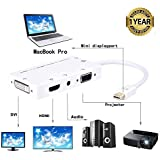 Galaxy Hi-Tech® 4 In 1 Thunderbolt Mini Display Port To HDMI/DVI/VGA/Audio With Micro USB Port Adapter For Apple IMac/Laptop Microsoft Sufacepro 2 3 4 Dell Disppayport- 1 Year Warranty