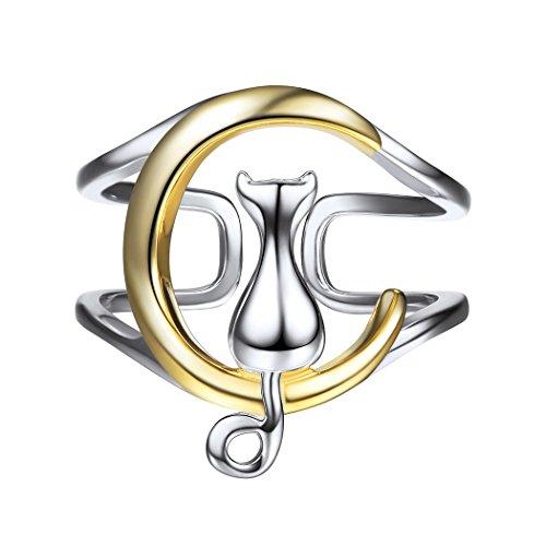 SILVERCUTE Bague Femme Argent 925/1000 Plaqué Or Anneau Ouvert Réglable Forme Chat et Lune Bijoux Mignon Bicolore pour Fille - avec Boîte-Cadeau Rose