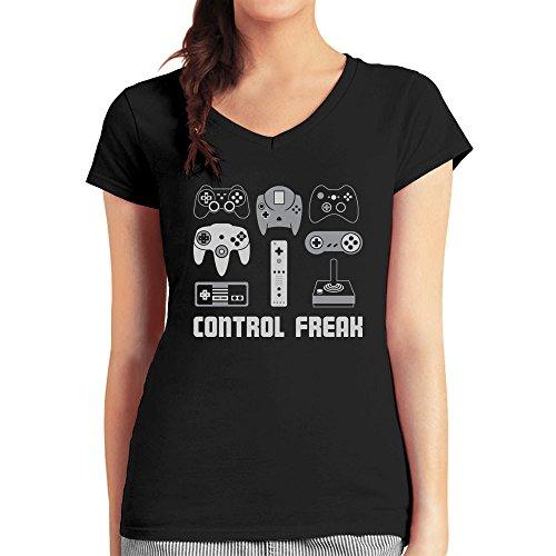Geschenke für Gamer Spieler - Control Freak Damen T-Shirt V-Ausschnitt Schwarz