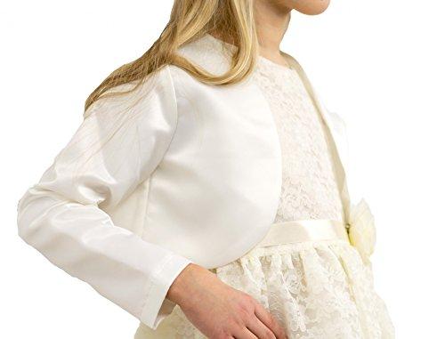 Eleganter Bolero für Mädchen creme edler Braut Satin langer Arm ivory beige festlich Hochzeit Kommunion, Größe:10 (140/146)
