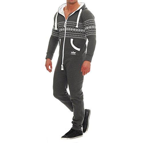 Finchman Azteken Muster Herren Jumpsuit Overall Jogging Training Anzug Einteiler Dunkelgrau
